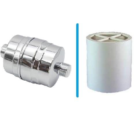 Chlorine reducing shower filter